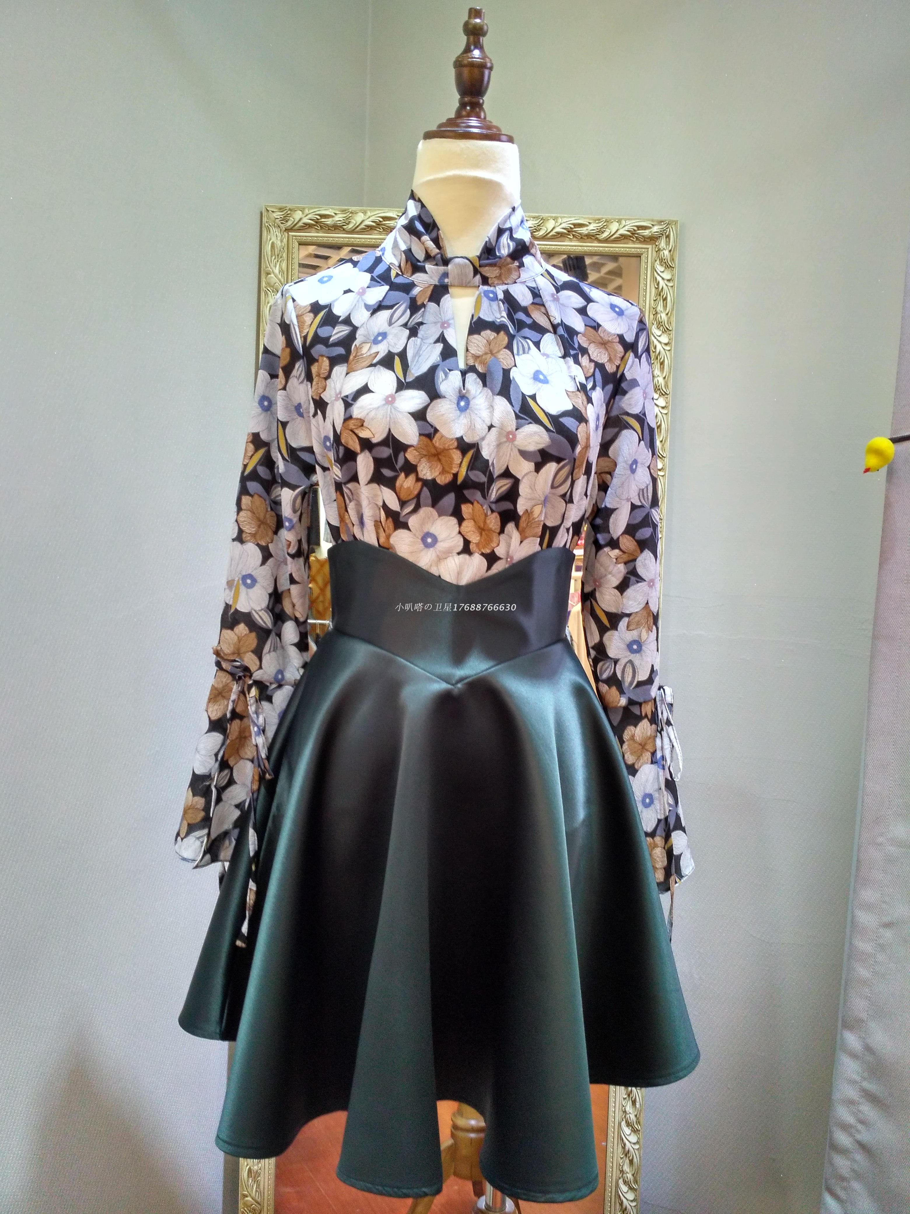 Korea East Gate spot solid color Luxury Satin V-shaped waist chic design versatile umbrella sun skirt