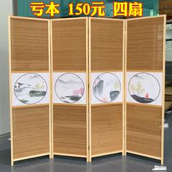 中式水墨玄关客厅屏风隔断折屏碳化竹编移动推拉帘墙现代小画墙