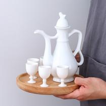 酒店餐具美质白瓷陶瓷圆形酒杯白酒杯小酒杯烈酒杯花雕酒壶套装