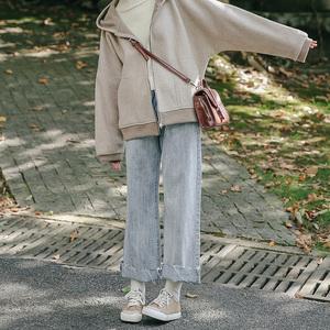 忠犬小八梨形自制泫雅高腰女牛仔裤