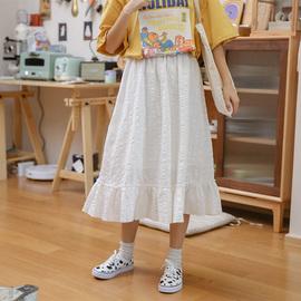 忠犬小八梨形自制-奶白半身裙-2020夏季新款日系清新半身裙学生女图片
