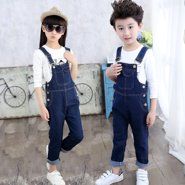 Boys casual pants girls suspenders jeans pants childrens casual wear