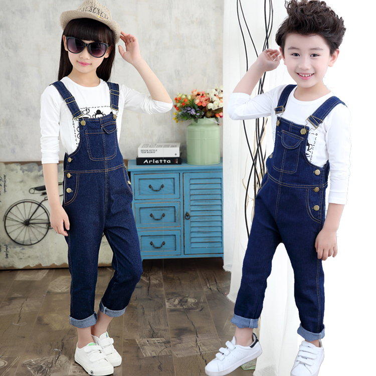 Girls all-in-one jeans pants spring and autumn 2020 new boys 5 Korean version 9 childrens and girls SUSPENDERS PANTS