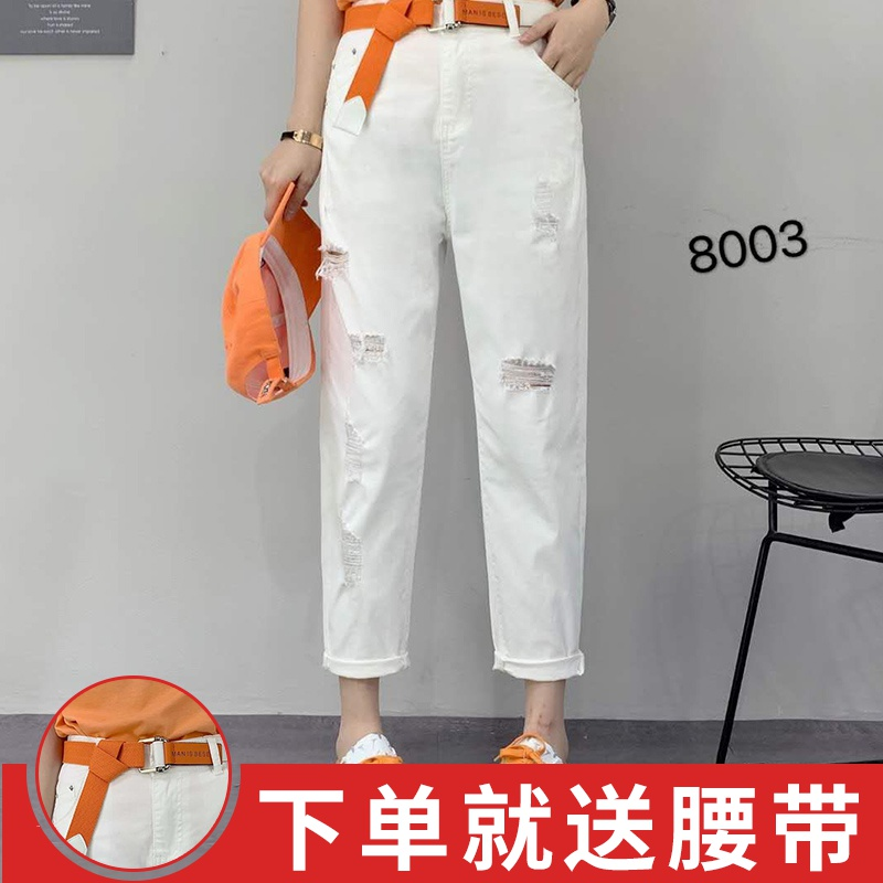 Fashion brand perforated jeans womens new fashion 2020 thin summer slim feet fashion simple casual Capris