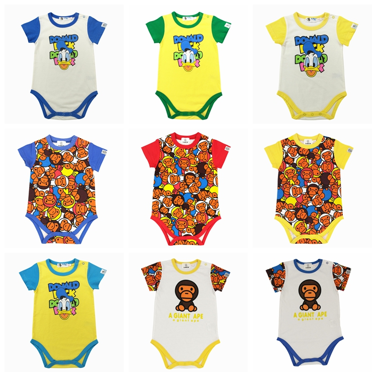 Trendy 2021 summer new infant cotton short sleeve one-piece clothes ha clothes for boys and girls to go out one-piece climbing clothes
