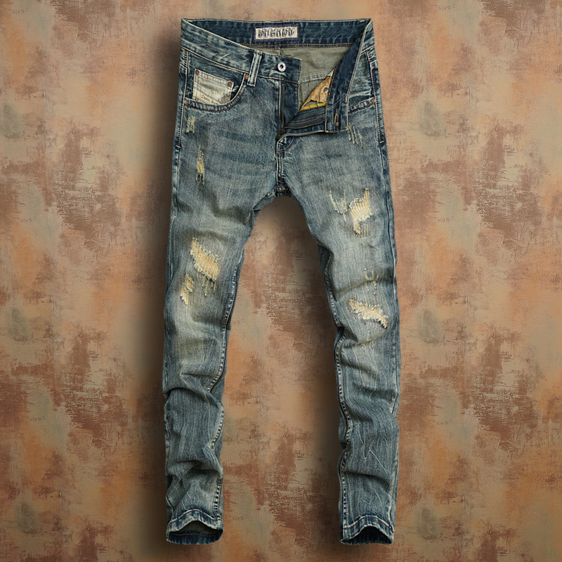 Young new trend European and American retro old cat need hole patch slim low waist small straight tube mens jeans
