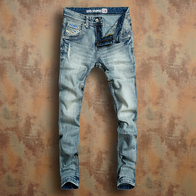 Disrao European and American retro light blue mid low waist elastic slim fit small straight jeans mens cat need to wear white tide