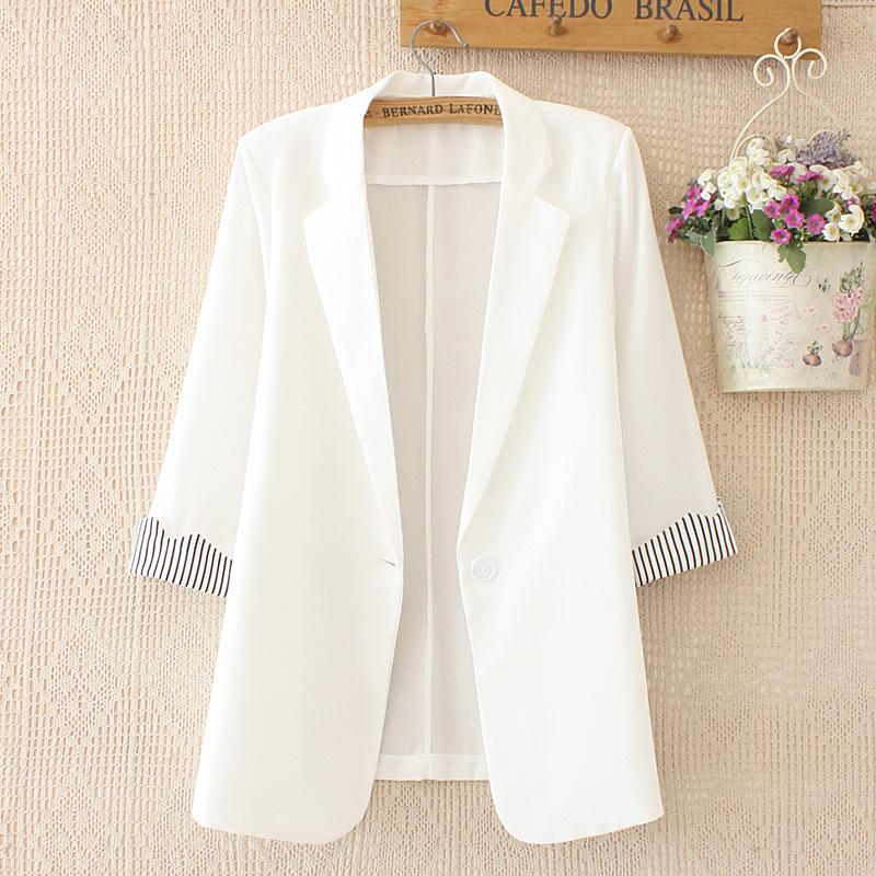 新款垂感雪纺小西装女中长款一粒扣韩版时尚显瘦薄款防晒衫七分袖