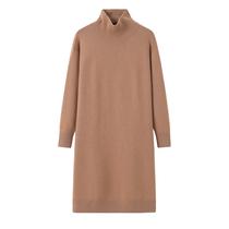 中长款羊绒衫女士半高领加厚中长款连衣裙大码针织衫长袖毛衣裙
