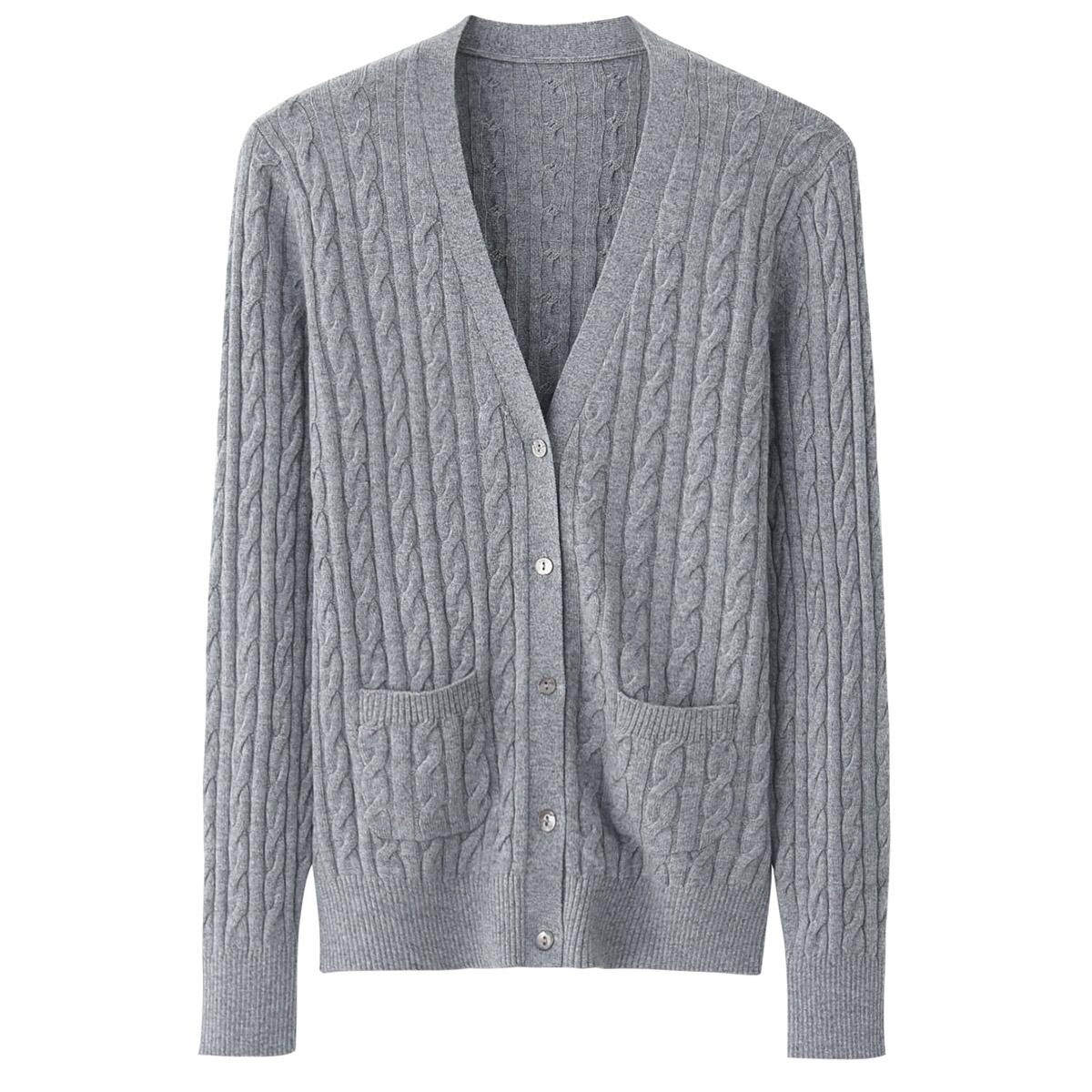 女装新款羊绒衫女式V领绞花皮套补丁针织对襟开衫休闲外套毛衣