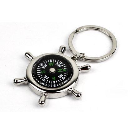 指南针钥匙扣创意礼品钥匙扣舵手方向盘钥匙圈活动礼品可定制LOGO