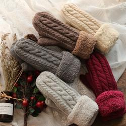 男女士冬季礼盒装马海毛加绒羊羔毛毛线学院学生包指全指挂脖手套