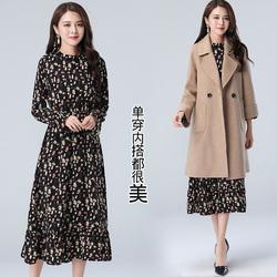 配大衣穿的内搭打底裙加绒雪纺连衣裙长袖加厚冬季中长款过膝长裙