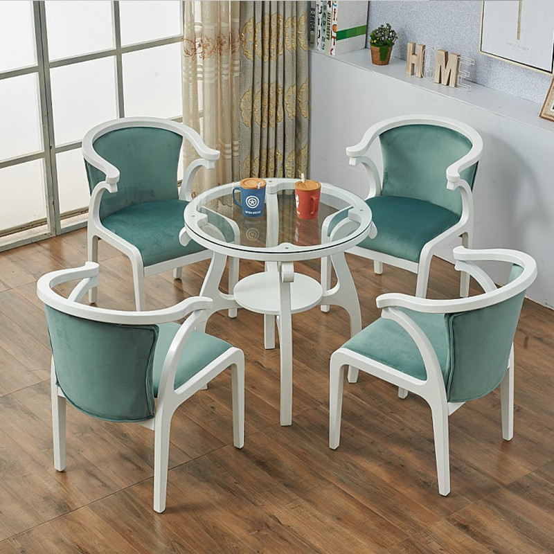 European style small sofa chair tea table round table hotel exclusive coffee shop reception simple leisure one table four chairs