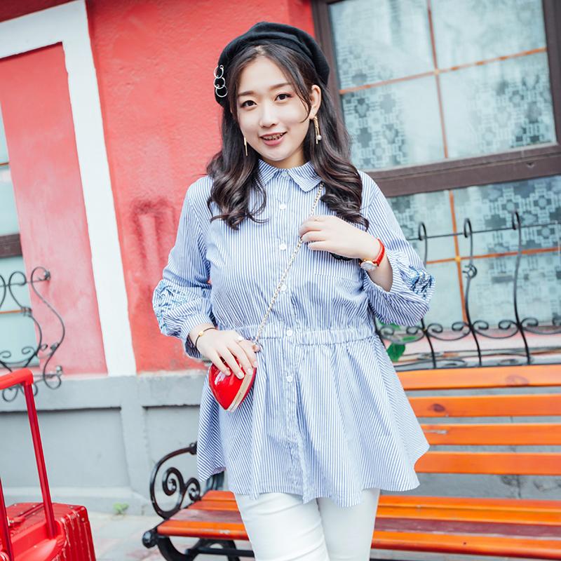七彩霓裳大码女装 胖mm秋装2018新款韩版甜美显瘦百搭衬衫打底衫