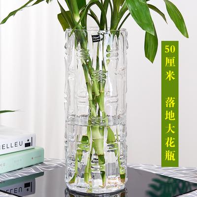 特大号落地富贵竹花瓶摆件玻璃透明水养水培直筒家用客厅插花装饰