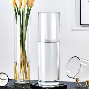 特大号落地花瓶玻璃透明摆件水养富贵竹水竹玫瑰百合插花客厅家用