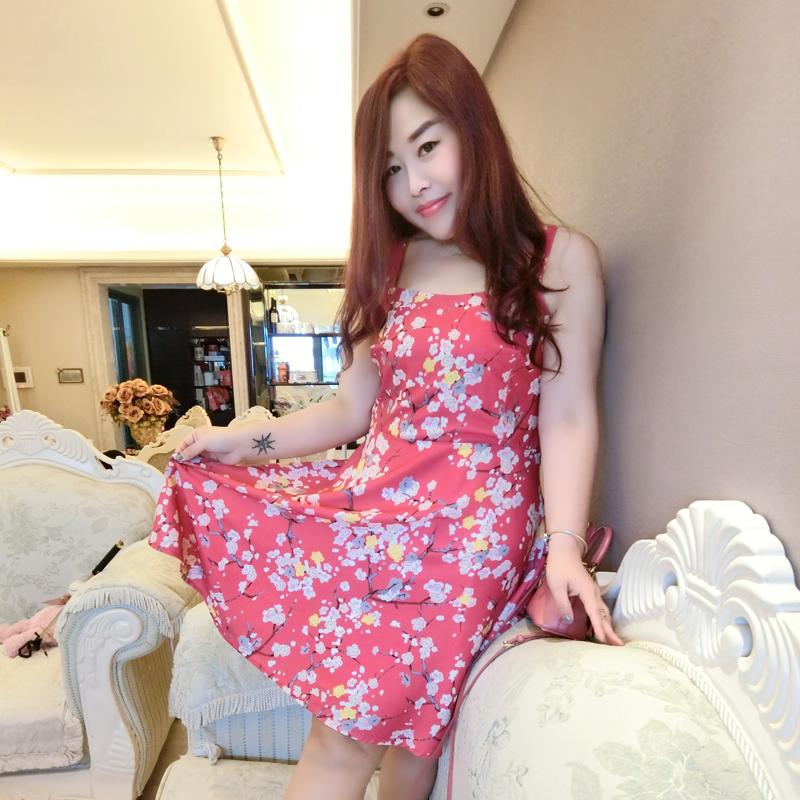 糖糖大码女装尚瘾夏装新款日系高腰樱花甜美显瘦吊带连衣裙3713