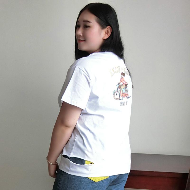 糖糖大码女装尚瘾2018夏装新款胖mm卡通刺绣印花宽松短袖T恤2063