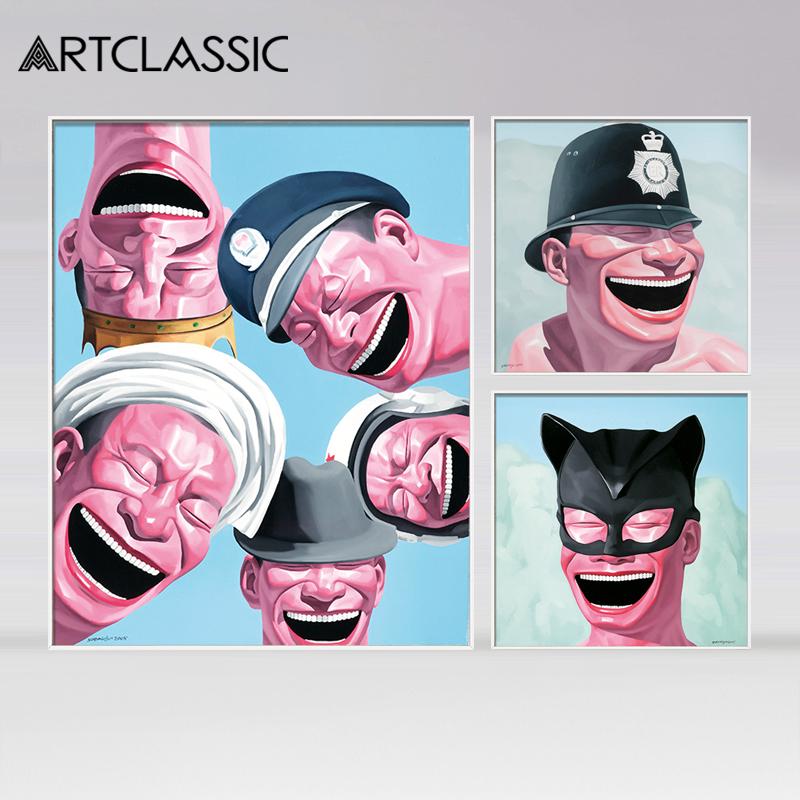 岳敏君帽子系列人物版畫現代裝飾畫中國當代藝術油畫玄關掛畫