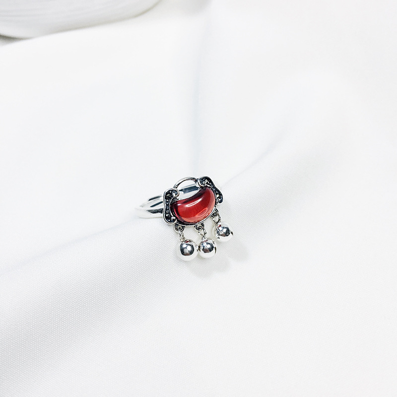 Safety lock long life lock open index finger ring girl 925 sterling silver ring antique Ruby bell Guofeng ring