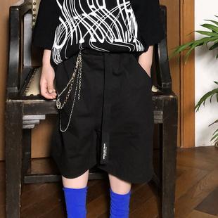 儿童黑色阔腿裤夏天宽松男童潮牌街舞短裤个性潮流洋气裤子童装酷