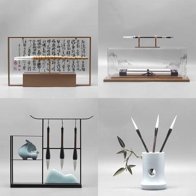 新中式毛笔创意客厅家居 书房摆件 样板房间办公桌酒柜玄关装饰