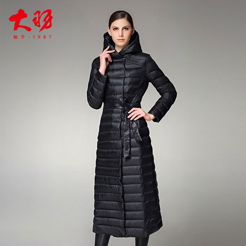Dayu womens 2018 new lightweight down jacket womens long knee thickened winter jacket extended slim 9721