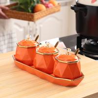 查看厨房盐味精调味罐三件套勺盖一体陶瓷调料罐家用组合套装轻奢北欧价格