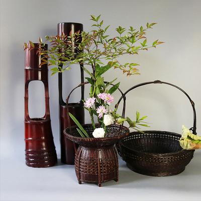 中华花艺复古竹编花篮花器禅意仿古中式插花器皿日式花道竹筒竹篮