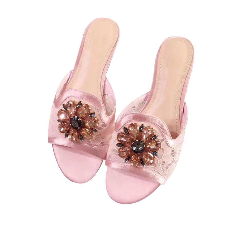 Summer 2020 slippers one line open toe flat bottom water drill cool mop sexy lace womens slippers flat sandals womens drag