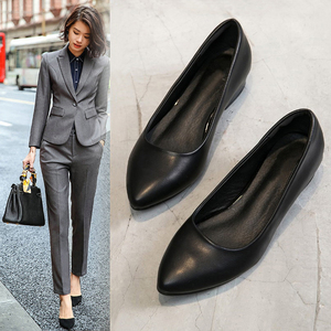 领3元券购买工作鞋黑色夏季透气上班平底皮鞋