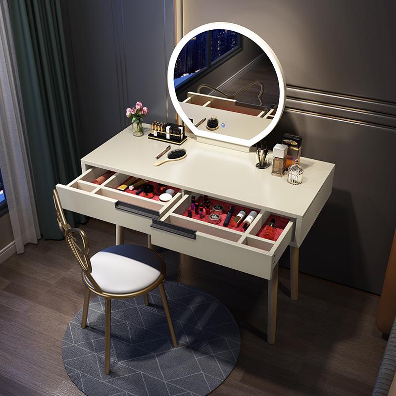 北欧带灯梳妆台卧室北欧风一体书桌