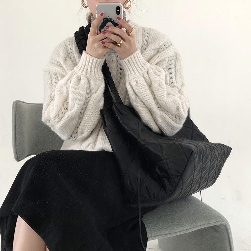 韩国秋冬新款潮黑色菱格斜跨大包ins女包休闲大容量托特包子母包图片