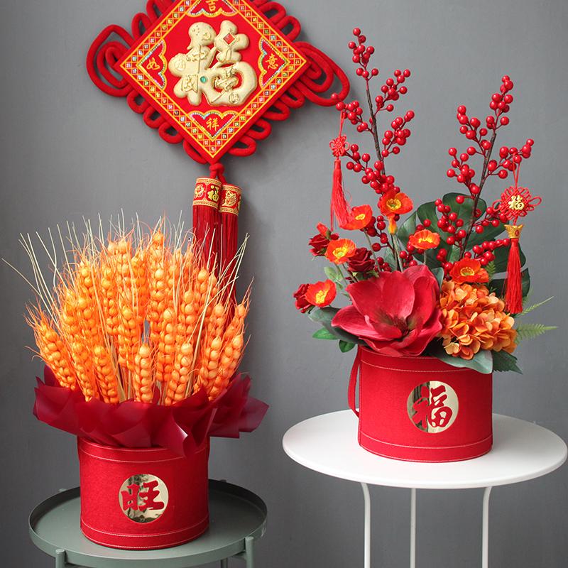 仿真大麦福桶银柳红色发财果中式风客厅公司前台装饰家居摆设假花