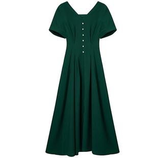 法式復古方領連衣裙氣質顯瘦重工訂珠赫本小黑裙牛油果綠裙子大碼