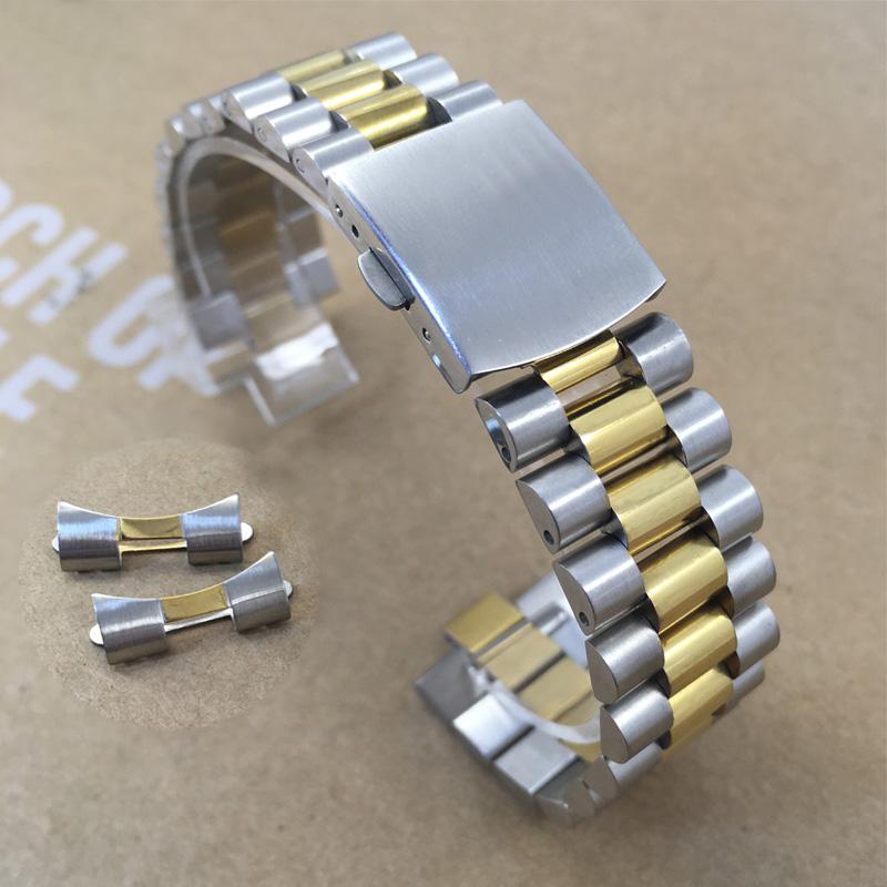 手表链精钢男士金属表带钢带实心不锈钢配件弧口代用帝舵劳力士