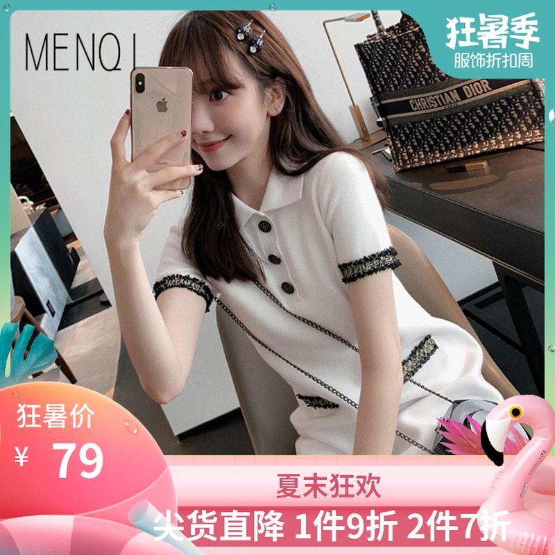 2020年新款小香风可甜POLO初恋气质连衣裙子甜美女神范白色夏
