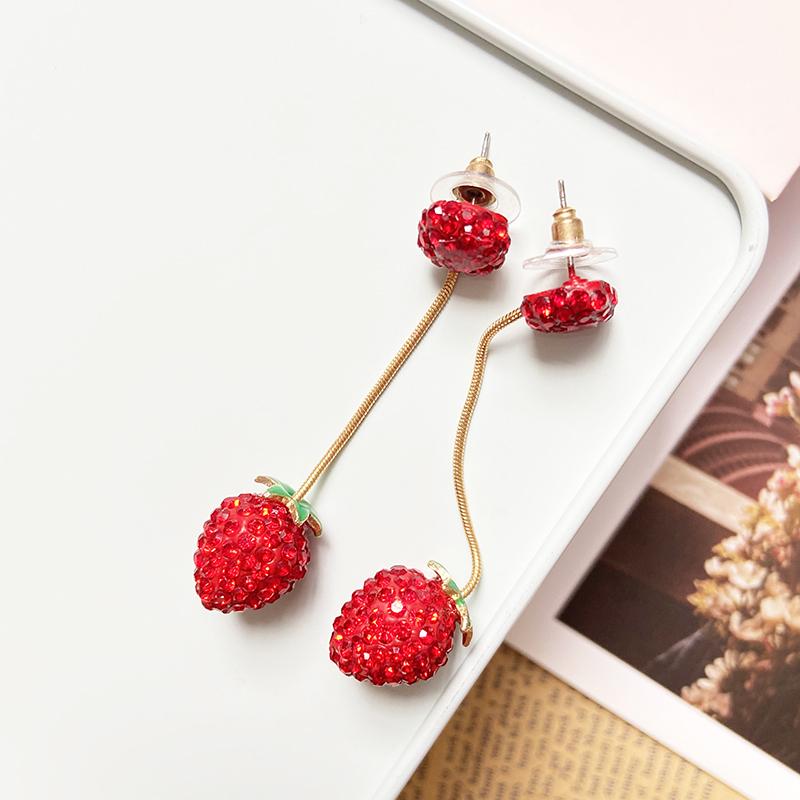[ashesandwine] Za same style with diamond and strawberry fruit, European and American Creative simple long earrings