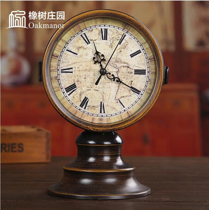 创意美式复古客厅坐钟钟表摆件欧式双面钟座钟桌面家用台钟摆设 Изображение 1