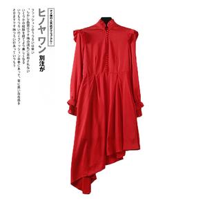 欧系列品牌热销2019秋季新款气质纯色不规则裙摆连衣裙女K3260