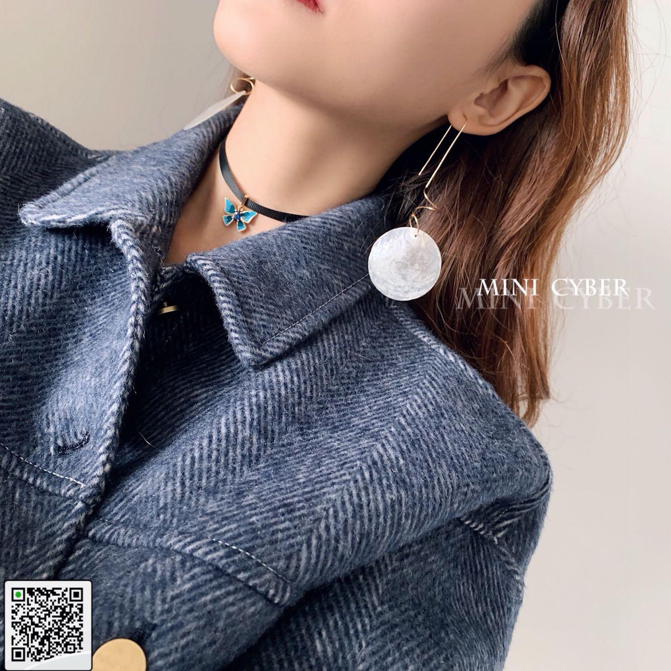 纯银镀金月球表面耳钉耳环长款时尚气质百搭冷淡风潮酷G.f.925