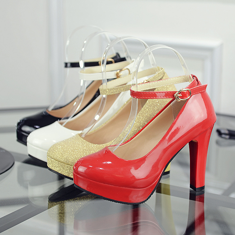 High heel thick heel waterproof platform single shoes black patent leather evening wear career ol female red gold wedding shoes bridal shoes