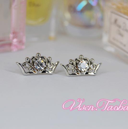 皇冠王冠钻石韩国日本韩风日系流行潮流饰品可爱高贵耳钉耳饰耳