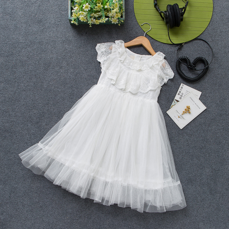女童装2019夏装新款蕾丝白色连衣裙11月06日最新优惠