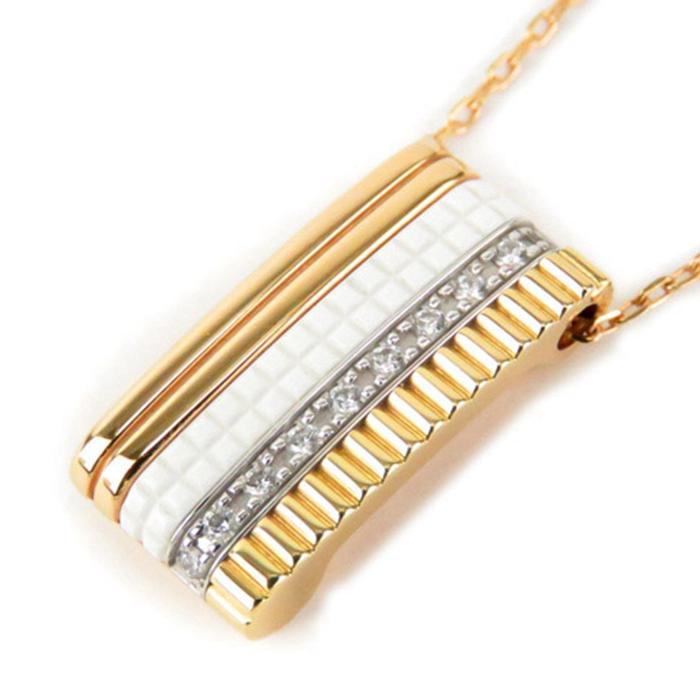 二手真品BOUCHERON宝诗龙18K黄金白金玫瑰金钻石白陶瓷项链吊坠