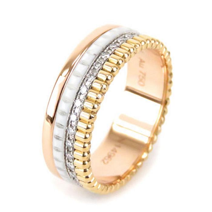二手真品BOUCHERON宝诗龙18K玫瑰金黄金白金白陶瓷镶钻戒指56号