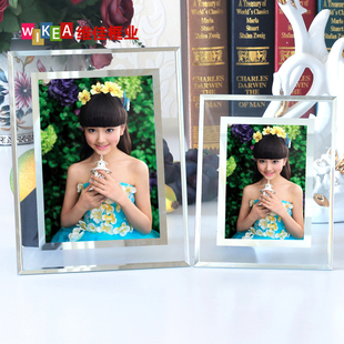 创意水晶相框摆台7寸5 6 8 10 A4七寸玻璃照片框儿童奖状影楼画框