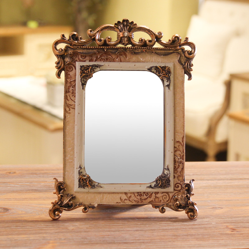 Соус зеркало рабочий стол спальня гостиная косметическое зеркало рабочий стол зеркало ретро дворец ветер континентальный американский смола принцесса зеркало
