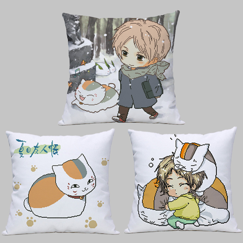 Xia Mus friends account cross stitch pillow, GUI Zhibans cat, cute picture, house houses time, DIYs hand embroidery